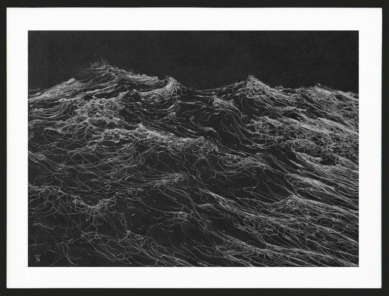 Franco Salas Borquez Landscape Painting - Dark Clamour by F. S. Borquez - Work on paper, contemporary, ocean waves