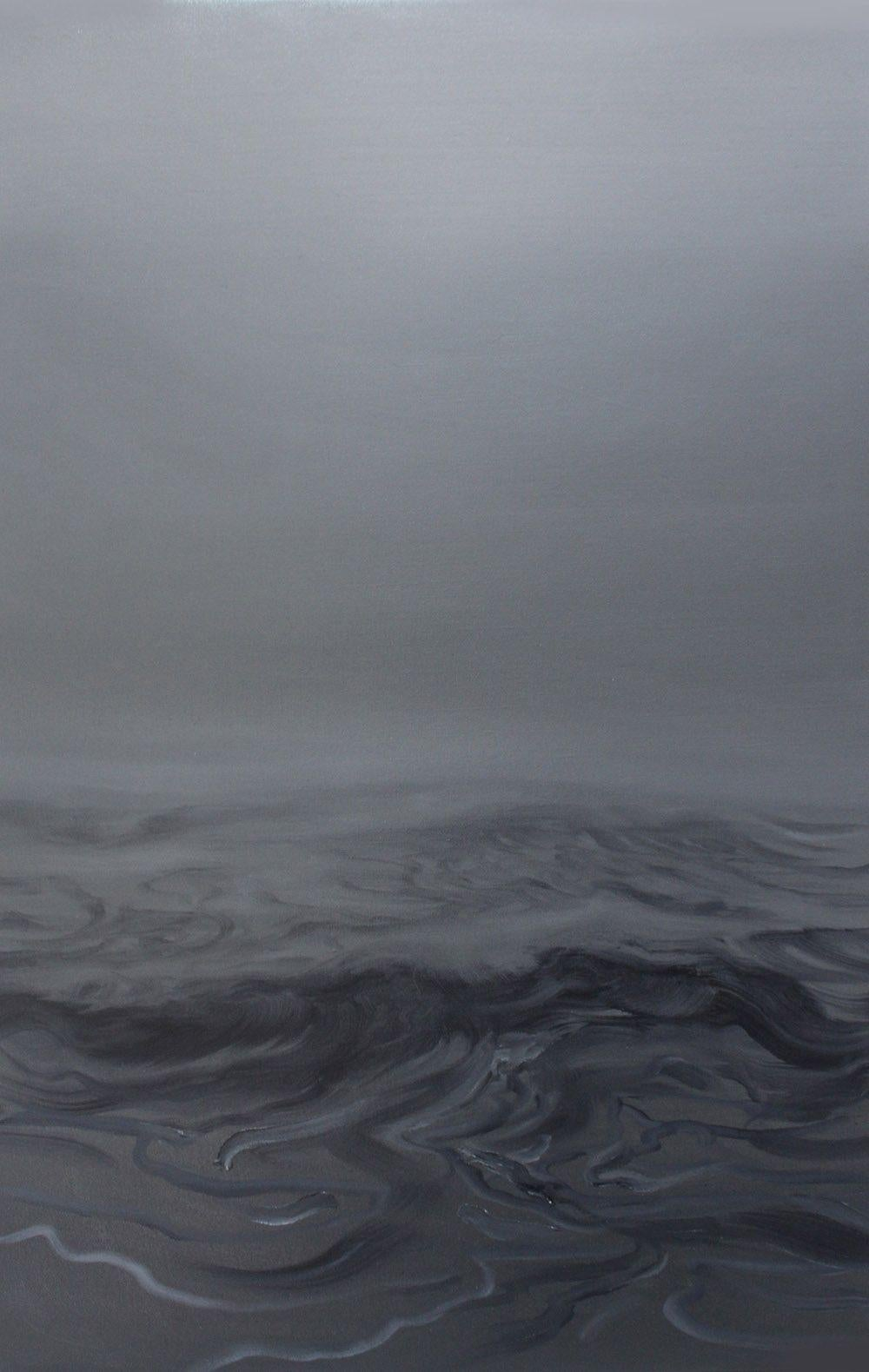 Silence - Contemporary Oil Painting, Seascape, Ocean waves