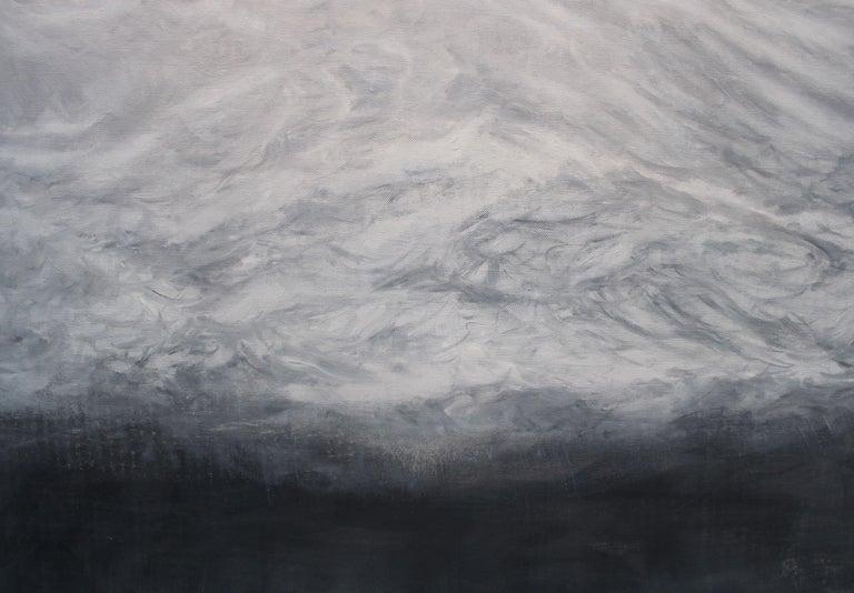 The Secret by F. S. Borquez - Contemporary Oil Painting, Seascape, Ocean waves - Gray Landscape Painting by Franco Salas Borquez