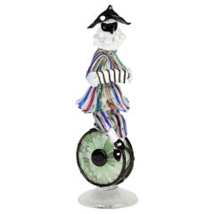 Franco Toffolo Commedia Dell'Arte Glass Clown Figure Playing A Squeeze Box