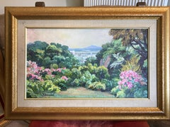 Provence Gardens, French Impressionist Signed Oil Painting