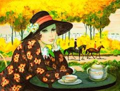 """""""Un Apres Midi au Champs de Courses,"""" Original Color Lithograph signed by Batet"""