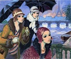 """""""Sur les Ponts de Paris (Bridges of Paris)"""" Color Litho signed by Francois Batet"""