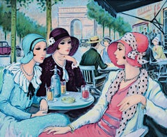 """""""Terrasse aux Champs Elysees (Terrace on the Champs)"""" Litho by Francois Batet"""