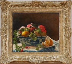 """""""Bowl With Fruit and Flowers""""  by Francois Bonvin-Attrib. (French 1817-1887)"""