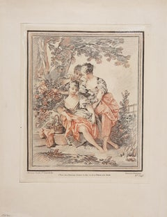 "François Boucher - ""Three Young Ladies in a Forest"" - Pencil Engraving - N° 346"