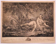 Surprised Bather - Original Etching on Paper after F. Boucher - 1760