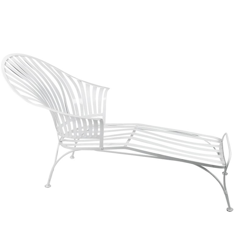 Francois Carre Vintage Fan Back Patio Chaise Lounge