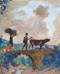 Liguria, Italy, a figurative Impressionist painting of Peasants on a bridge