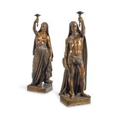 Pair of Bronze Deux Esclaves Indiens Porte Torchères