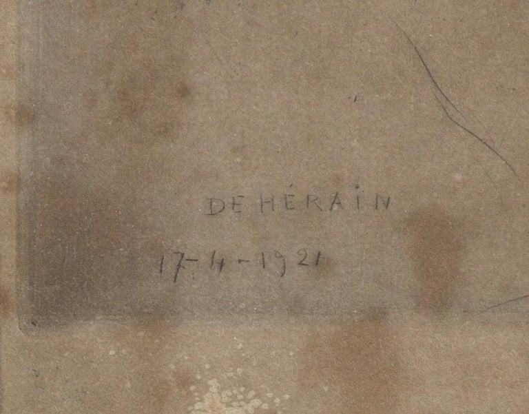 François de Hérain, Portrait of a Man, Drawing on Paper In Fair Condition For Sale In Leuven , BE