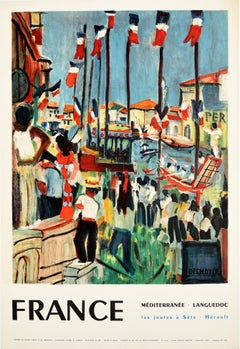 Original Vintage Poster Mediterranee Languedoc Les Joutes A Sete Water Jousting