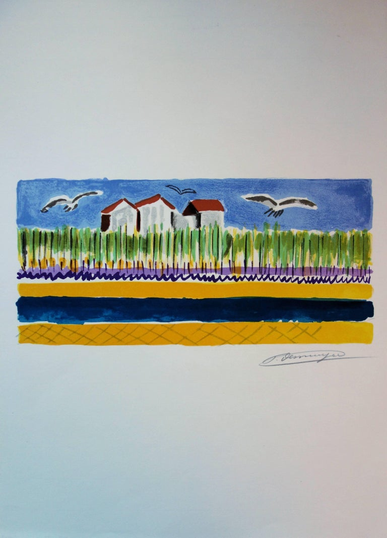 Small Houses near the Beach - Original handsigned lithograph - Post-Impressionist Print by François Desnoyer