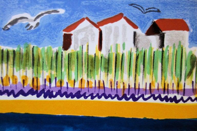 Small Houses near the Beach - Original handsigned lithograph - Blue Landscape Print by François Desnoyer