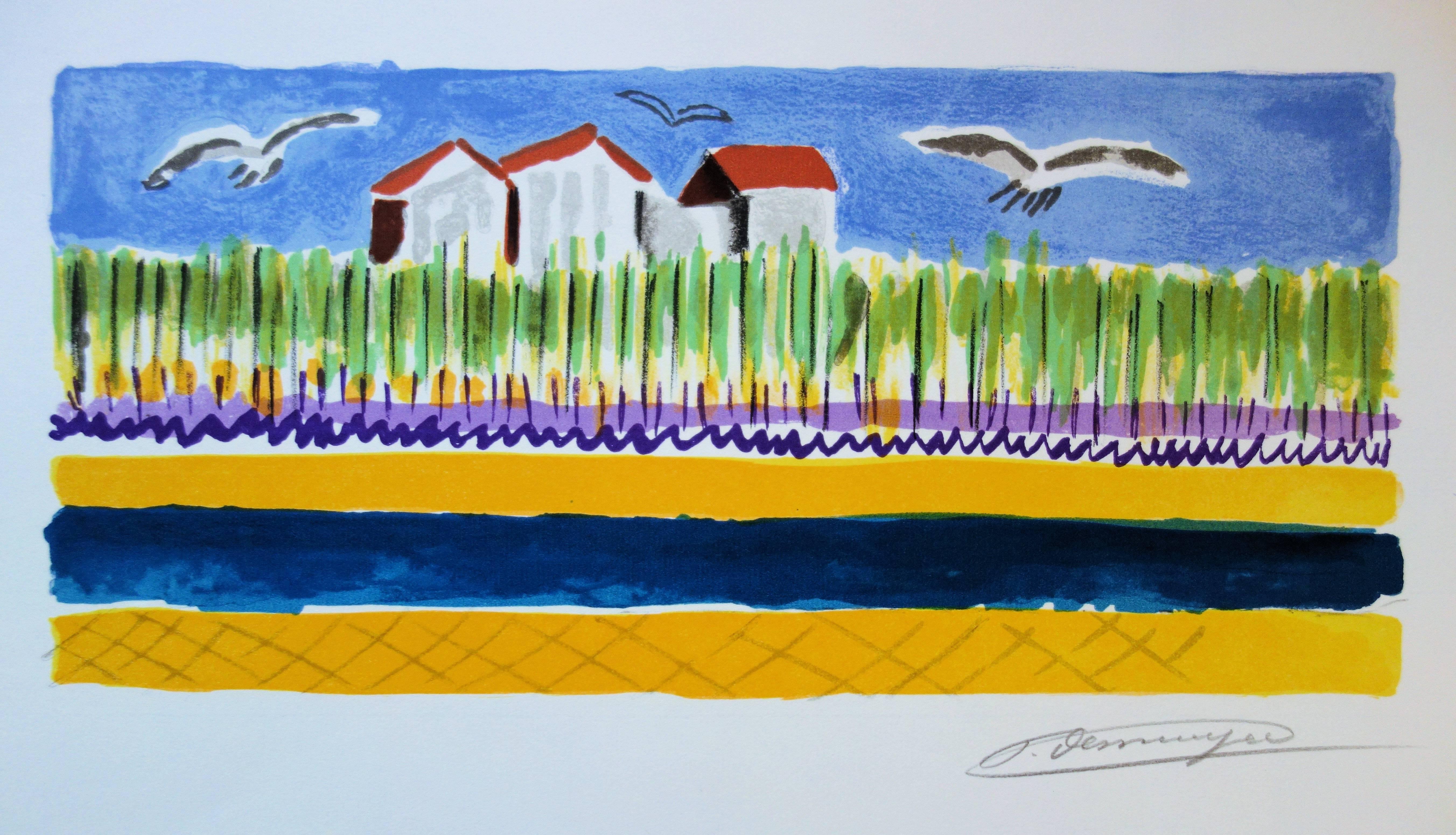 Small Houses near the Beach - Original handsigned lithograph