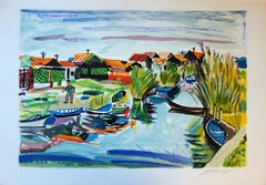 Small Village in Camargue - Original Handsigned lithograph