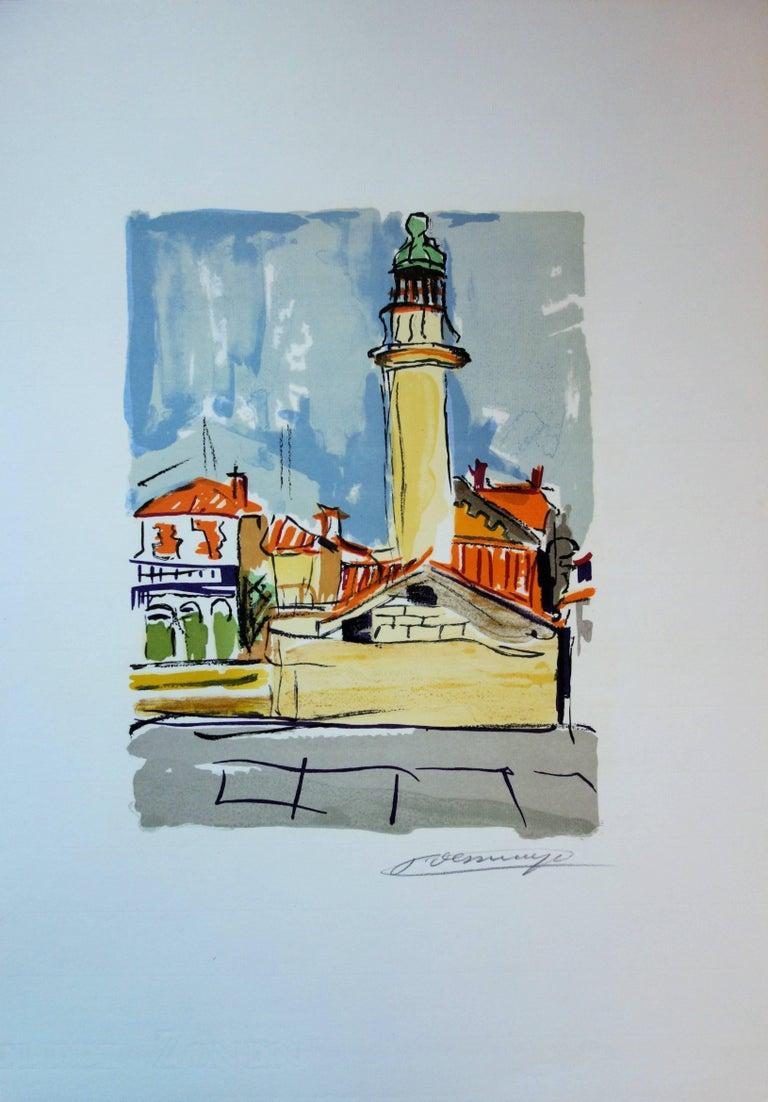 The Lighthouse - Original handsigned lithograph - Modern Print by François Desnoyer