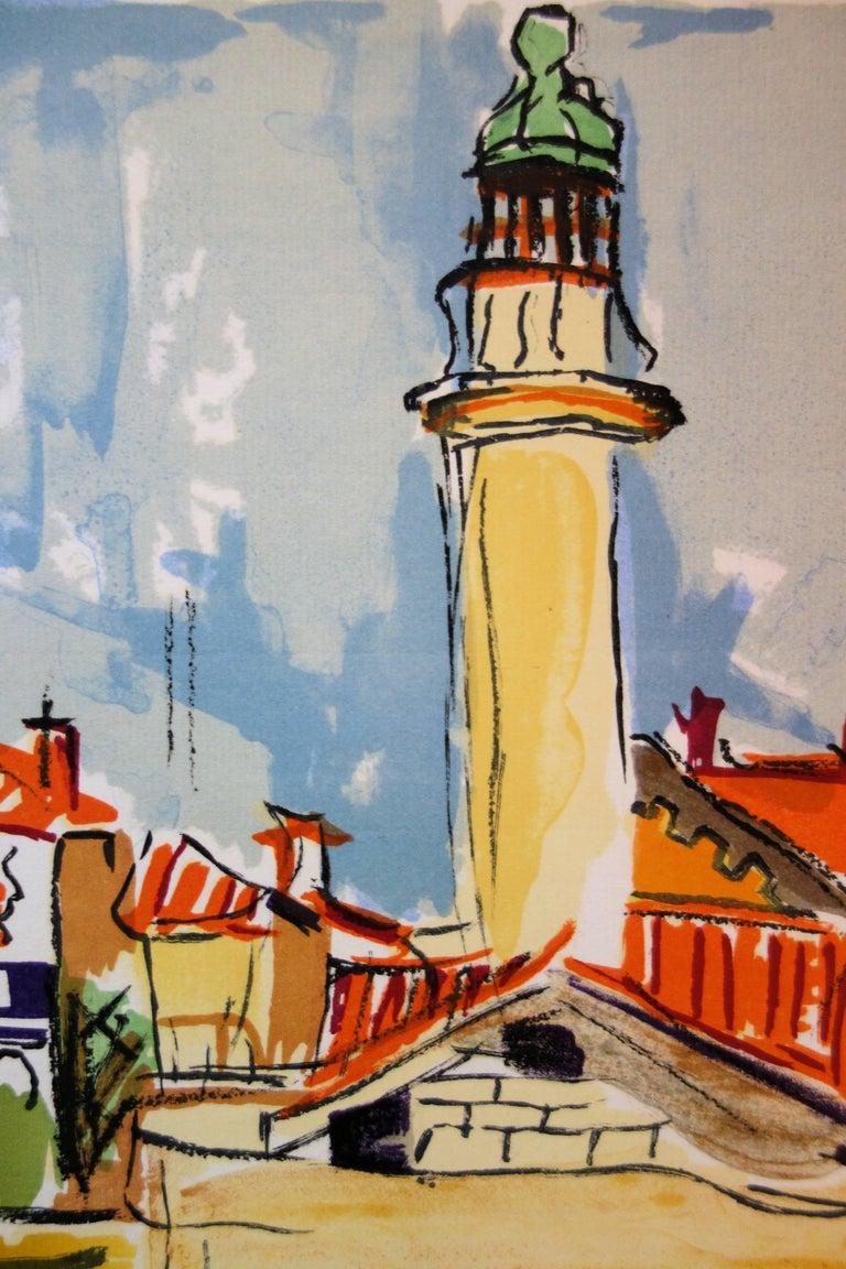 The Lighthouse - Original handsigned lithograph - Gray Landscape Print by François Desnoyer