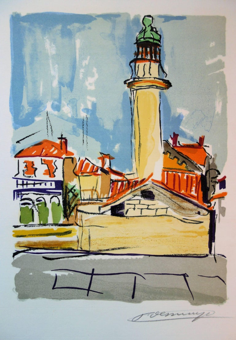 François Desnoyer Landscape Print - The Lighthouse - Original handsigned lithograph
