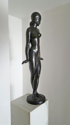 Danseuse,   French Art Deco Nude Girl in Bronze
