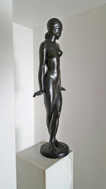 Francois Emile Popineau Nude Sculpture - Art Deco Danseuse,  French  Nude Girl Dancer in Bronze