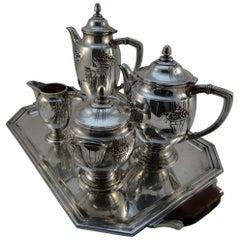 François Frionnet Art Nouveau Silver Coffee / Tea Set, 1915-1920