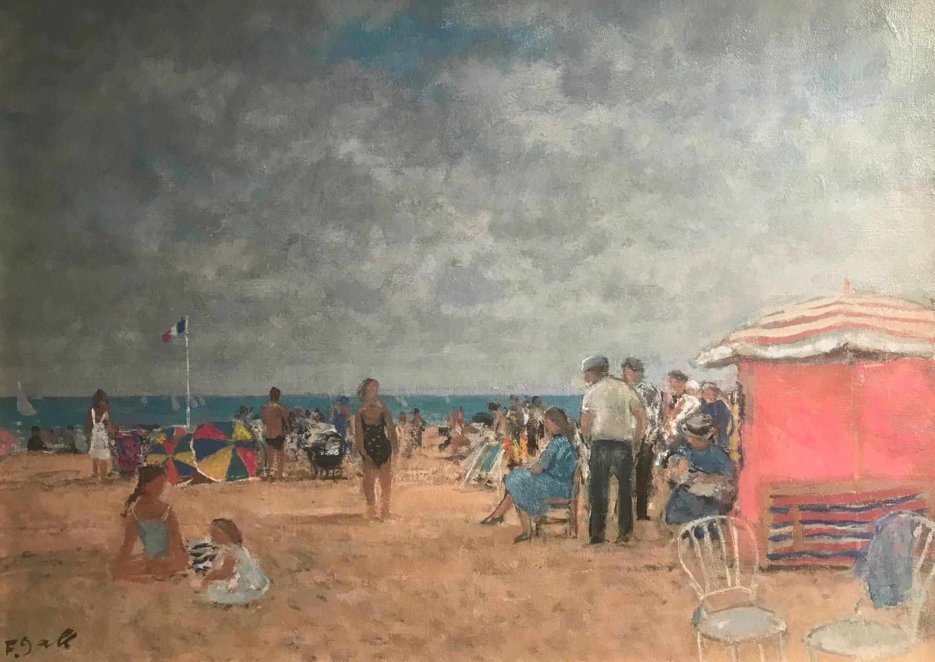 Bright Normandy Beach Scene with Figures, Sea & Boats 'Un Plage,Normandie'.