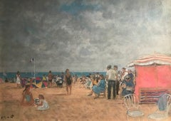 Bright Normandy Beach Scene with Figures, Sea & Boats 'Un Plage,Normandie'.