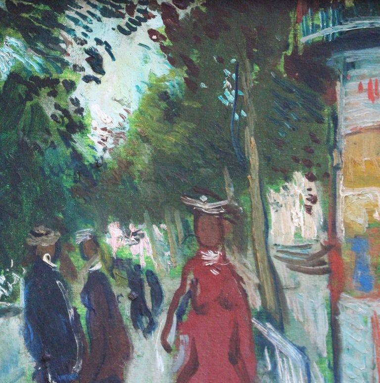 Les Grands Boulevards - Paris - Gray Landscape Painting by François Gall