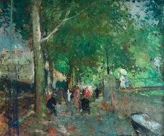Rue de Paris - Post Impressionist Oil, Figures in Landscape by Francois Gall