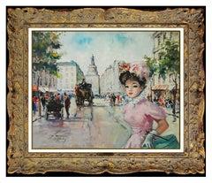 Francois Gerome Large Oil Painting On Canvas French Cityscape Female Portrait