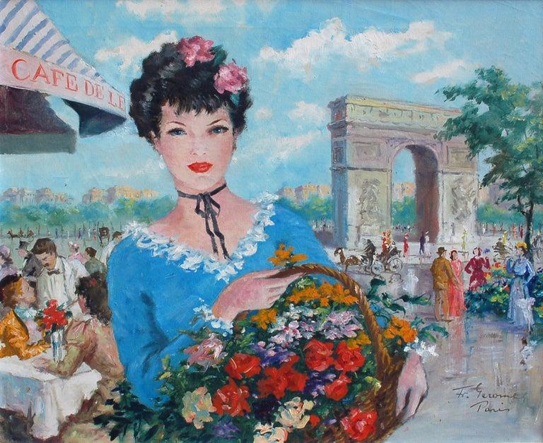 Le Panier de Fleurs, L'Arc de Triomphe - Painting by Francois Gerome