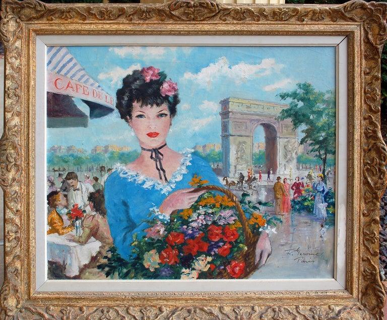 Francois Gerome Figurative Painting - Le Panier de Fleurs, L'Arc de Triomphe