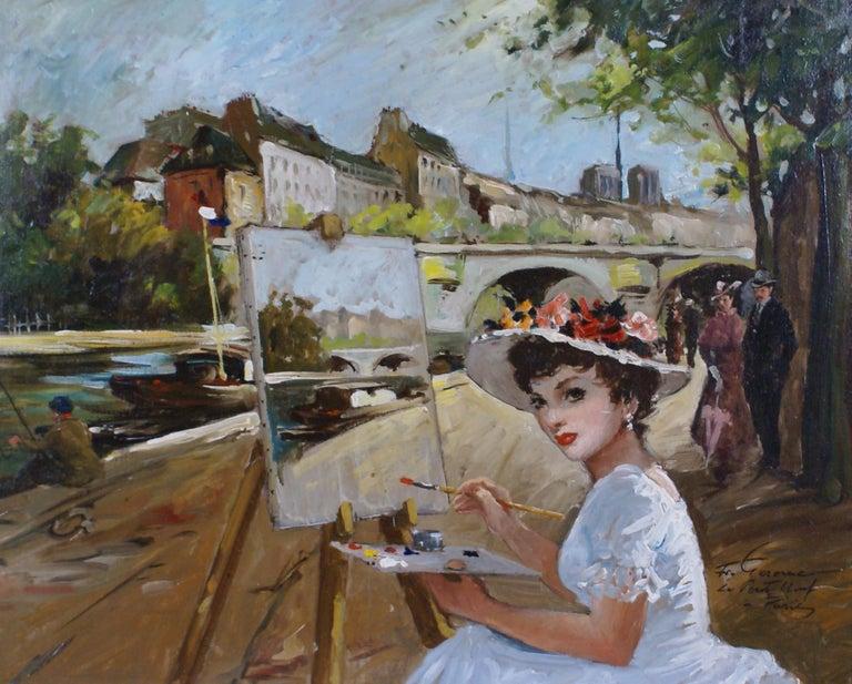 Le Pont Neuf à Paris - Painting by Francois Gerome