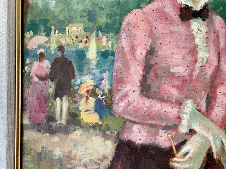 Mid century oil portrait of a French woman at a Fete by a Pond in Nogent, Paris - French School Painting by Francois Gerome