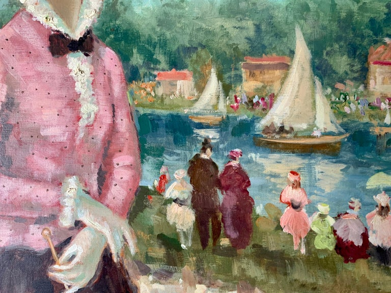 Mid century oil portrait of a French woman at a Fete by a Pond in Nogent, Paris - Brown Portrait Painting by Francois Gerome