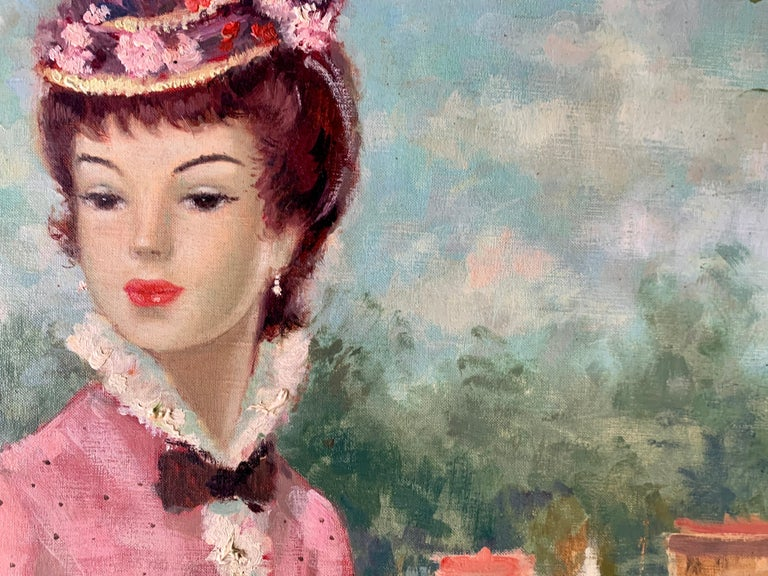 Mid century oil portrait of a French woman at a Fete by a Pond in Nogent, Paris For Sale 1