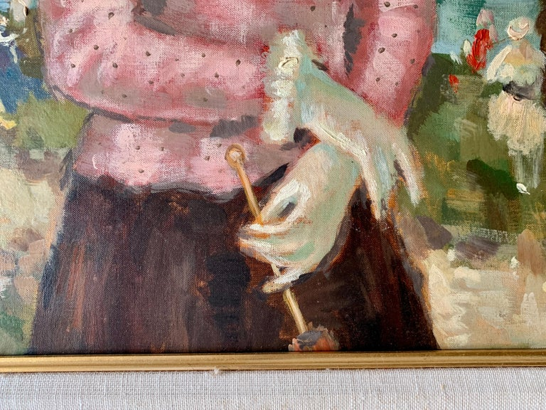 Mid century oil portrait of a French woman at a Fete by a Pond in Nogent, Paris For Sale 2