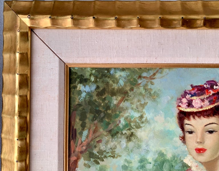 Mid century oil portrait of a French woman at a Fete by a Pond in Nogent, Paris For Sale 3