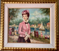 Mid century oil portrait of a French woman at a Fete by a Pond in Nogent, Paris