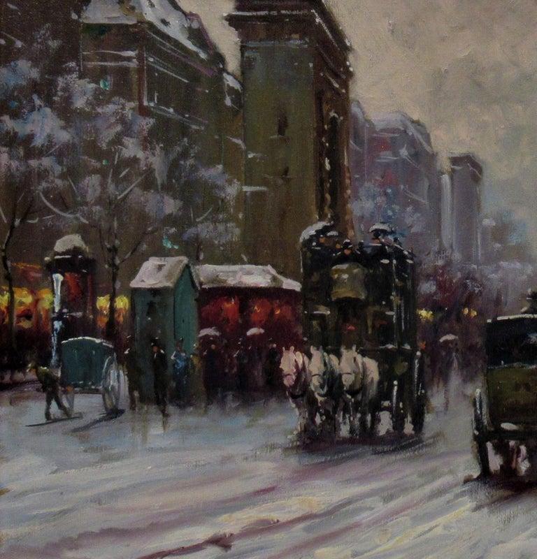 Porte Saint Denis, Paris - Impressionist Painting by Francois Gerome