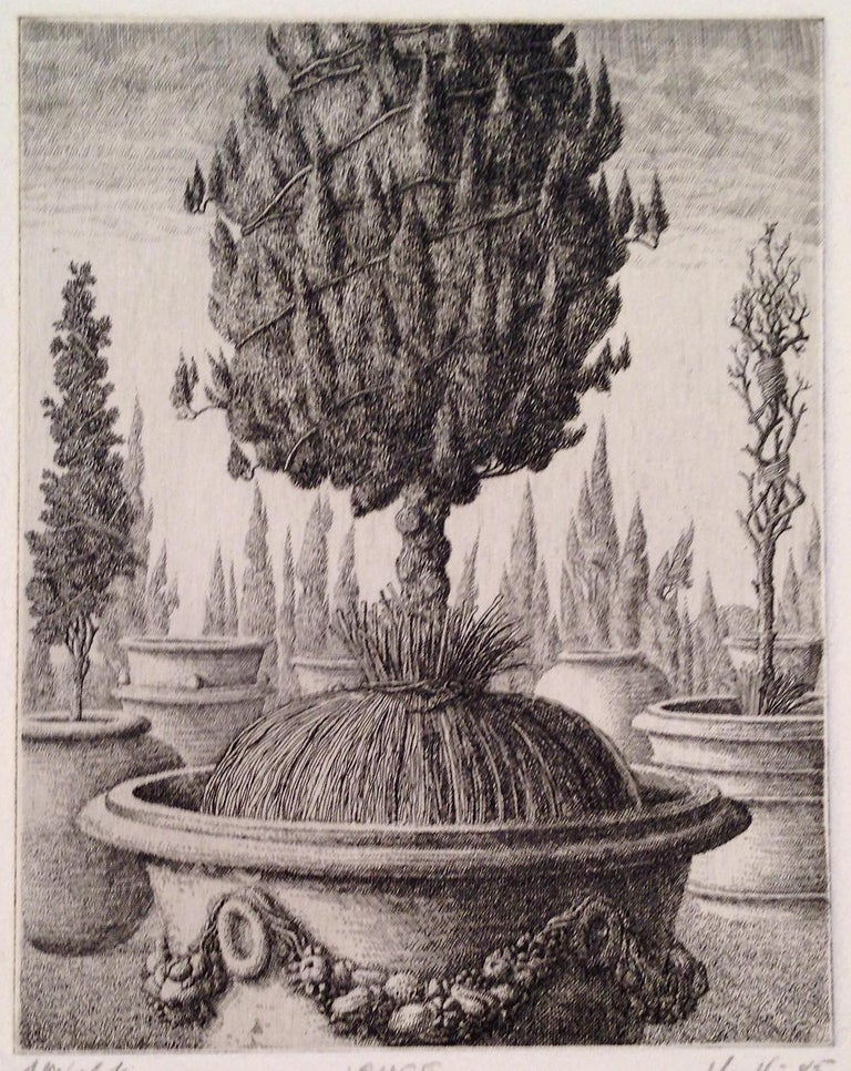 Signed, titled and numbered 1/3 from the first state.  Imaginary topiary and garden scenes, with incredibly fine line work in the etching in this image of a suspended garden. Others in this series are available.  François Houtin was born in Craon en