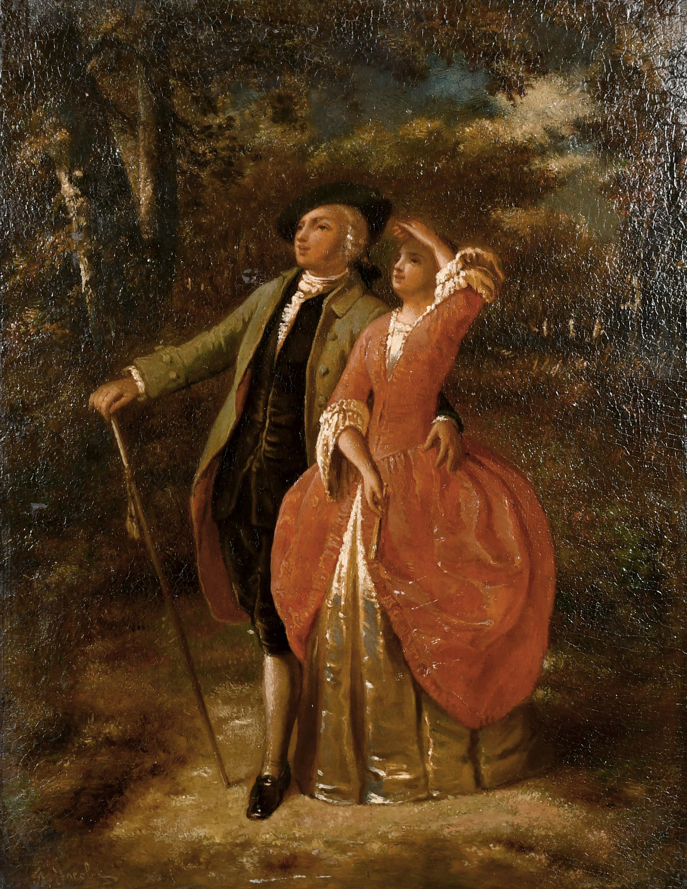 Fine 19th Century French Signed Oil Elegant Couple Admiring View Woodland Glade