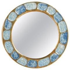 Mithé Espelt Ceramic Mirror Gold Blue Jewel Enamel Midcentury, 1960, France