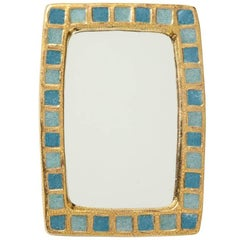 Francois Lembo Ceramic Mirror Gold Blue Rectangular France, 1970s