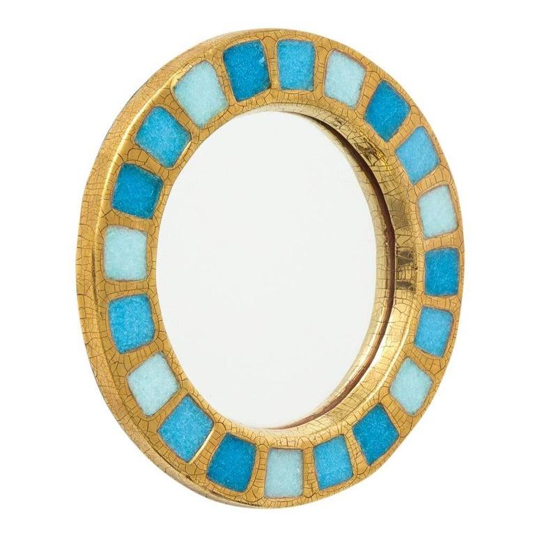Modern Francois Lembo Ceramic Mirror Gold Blue Round, France, 1970s For Sale