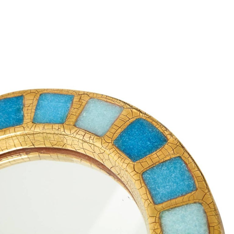 French Francois Lembo Ceramic Mirror Gold Blue Round, France, 1970s For Sale