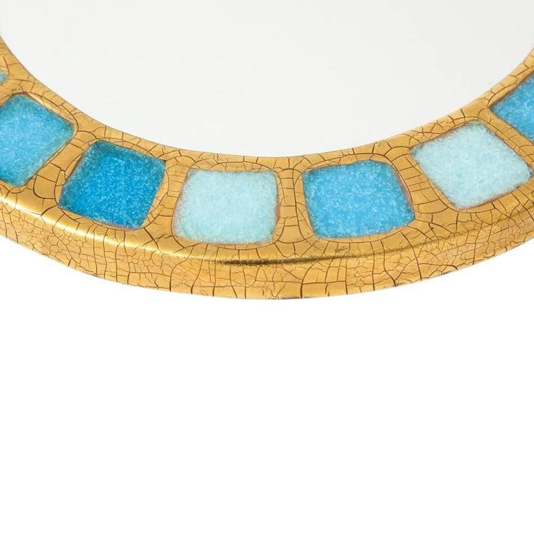 Glazed Francois Lembo Ceramic Mirror Gold Blue Round, France, 1970s For Sale