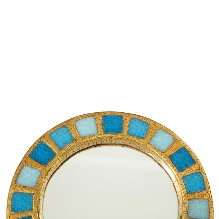 Francois Lembo Ceramic Mirror Gold Blue Round, France, 1970s In Good Condition For Sale In New York, NY