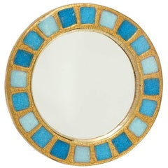 Francois Lembo Ceramic Mirror Gold Blue Round, France, 1970s